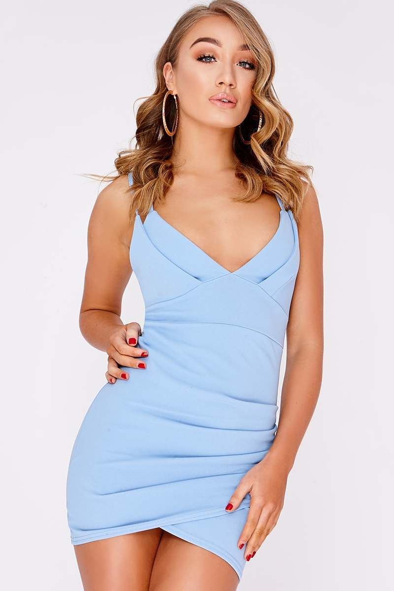 blue double strap wrap dress