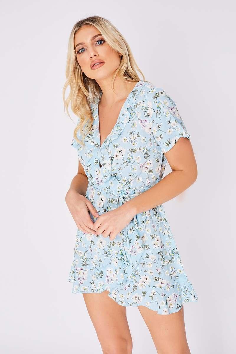 blue floral frill hem wrap dress