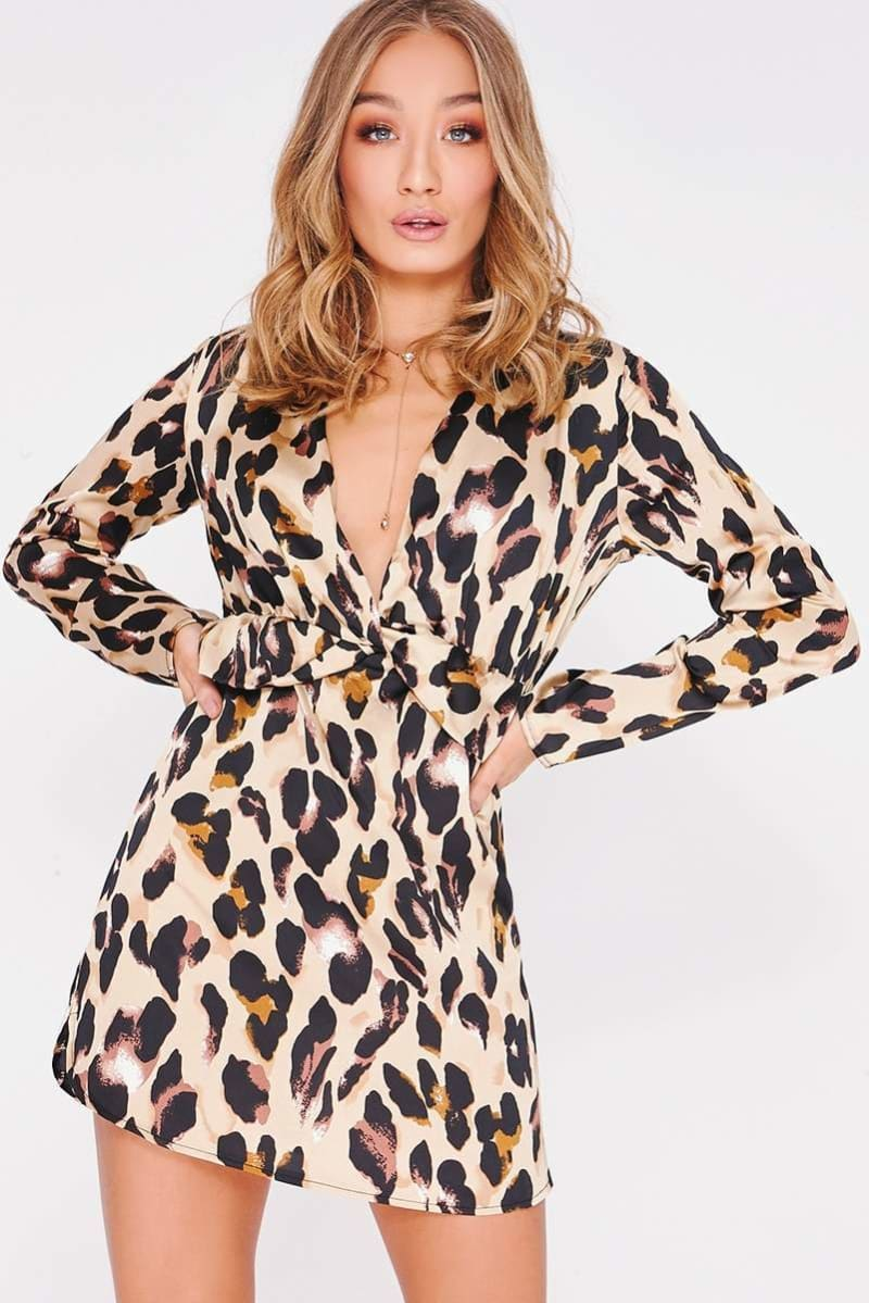 leopard print twist wrap dress
