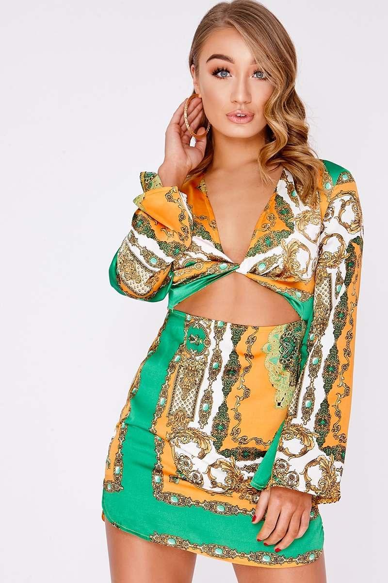 green scarf print twist cut out mini dress