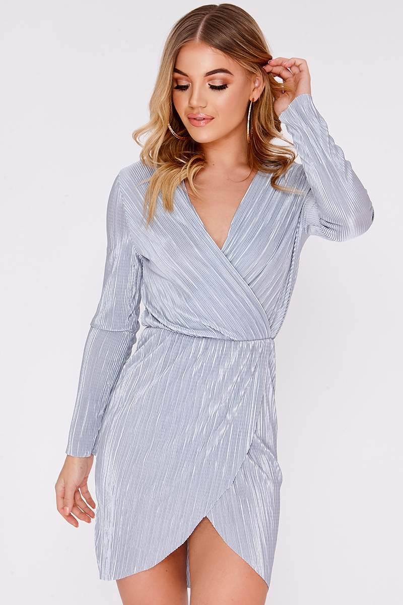grey crinkle wrap dress