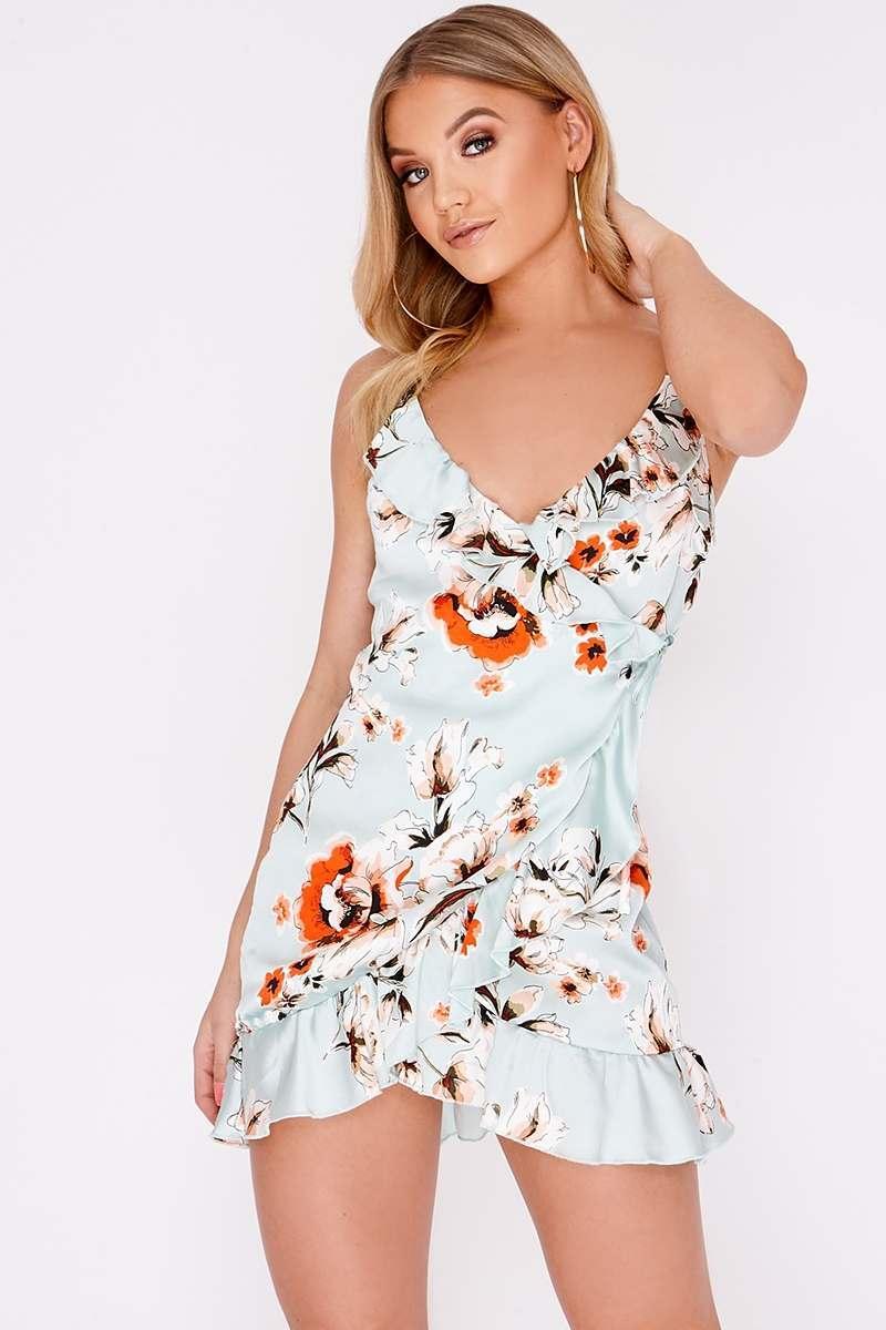 mint floral satin wrap frill dress