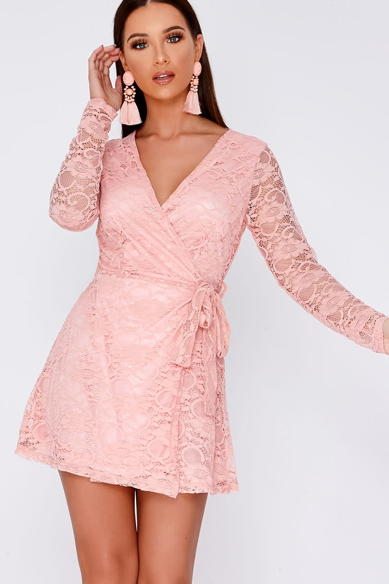 CELIA NUDE FLORAL LACE WRAP OVER MINI DRESS