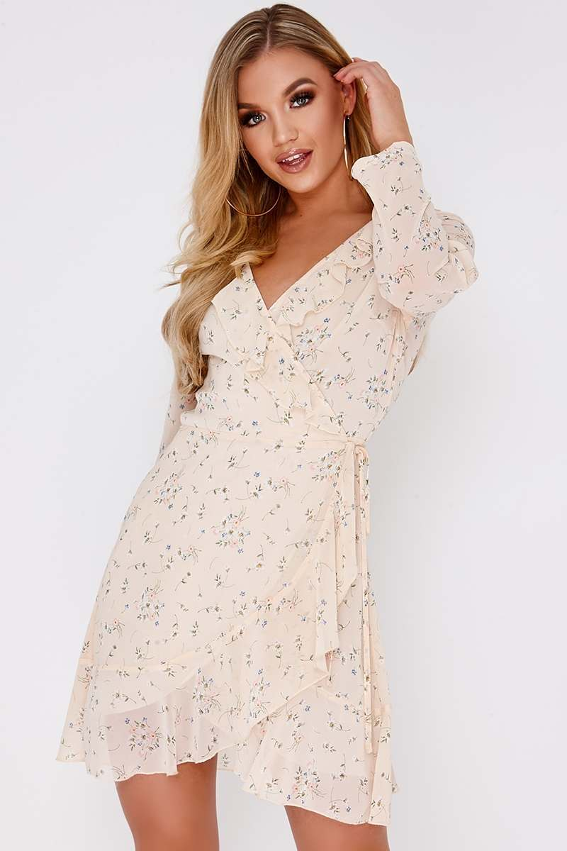 nude floral wrap frill dress