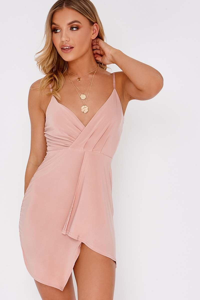 nude plunge wrap over mini dress