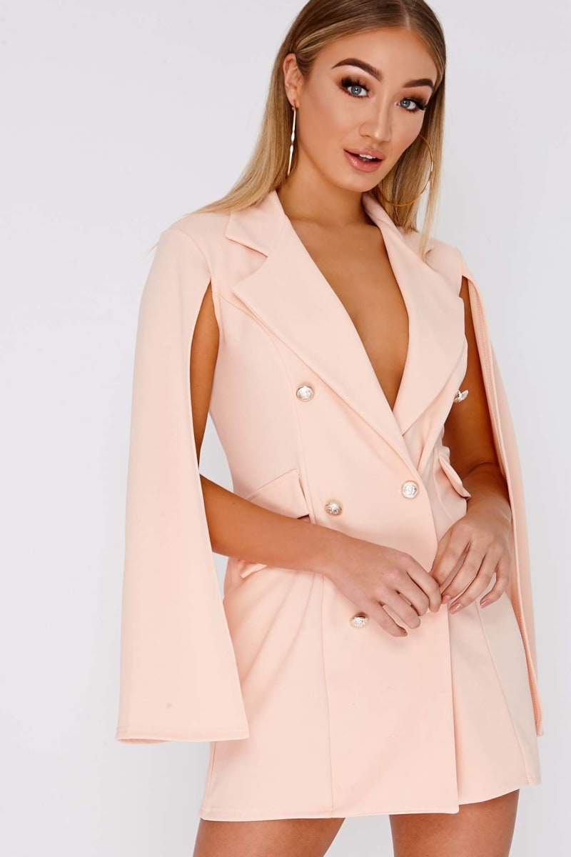 peach split sleeve blazer dress
