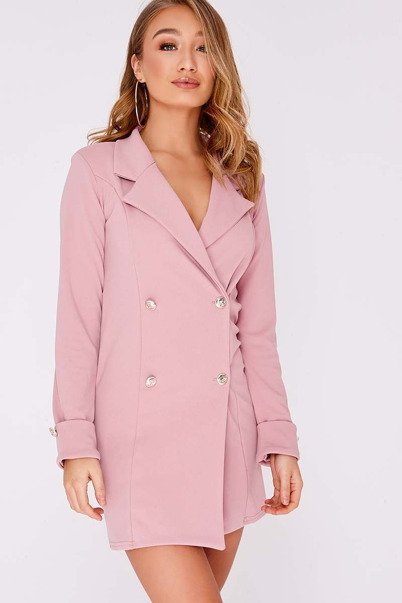 pink gold button blazer dress