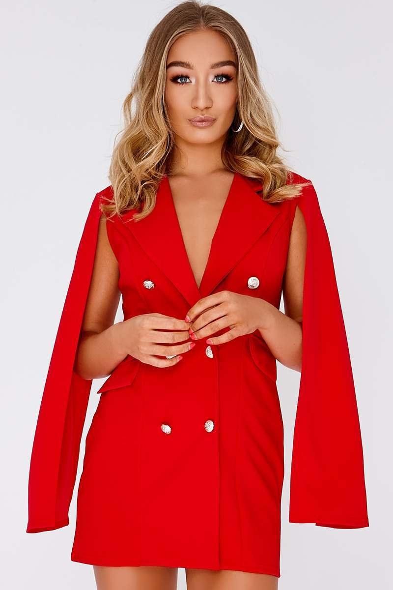 CAILLA RED SPLIT SLEEVE BLAZER DRESS
