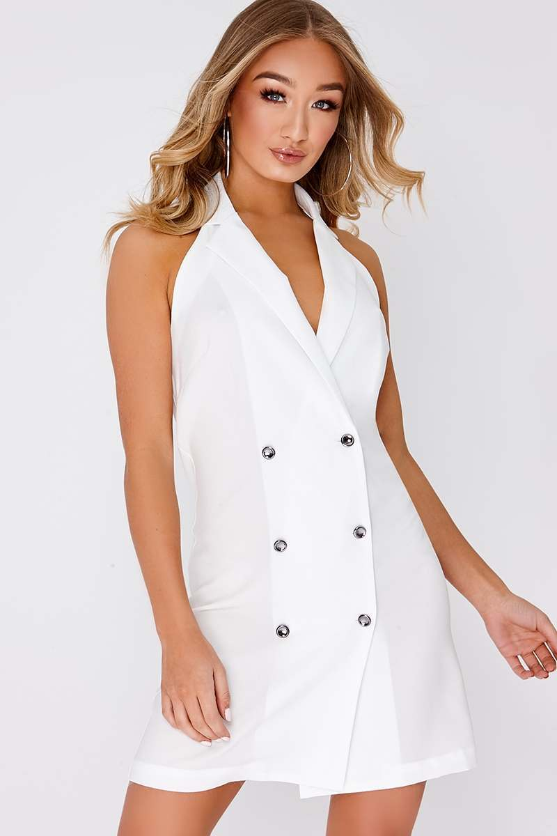 white sleeveless double breasted blazer dress