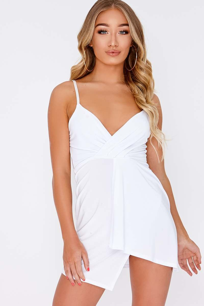 FION WHITE PLUNGE WRAP OVER MINI DRESS