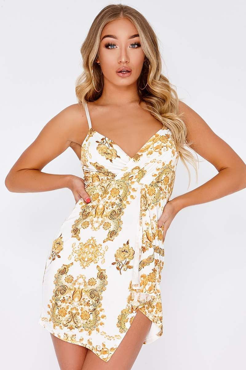 GABRI WHITE CHAIN PRINT PLUNGE WRAP OVER MINI DRESS
