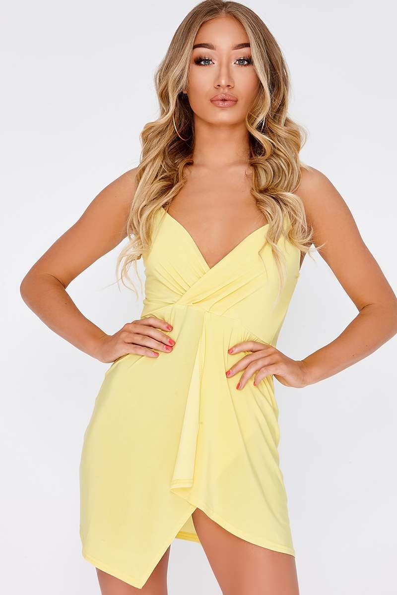 yellow plunge wrap over mini dress