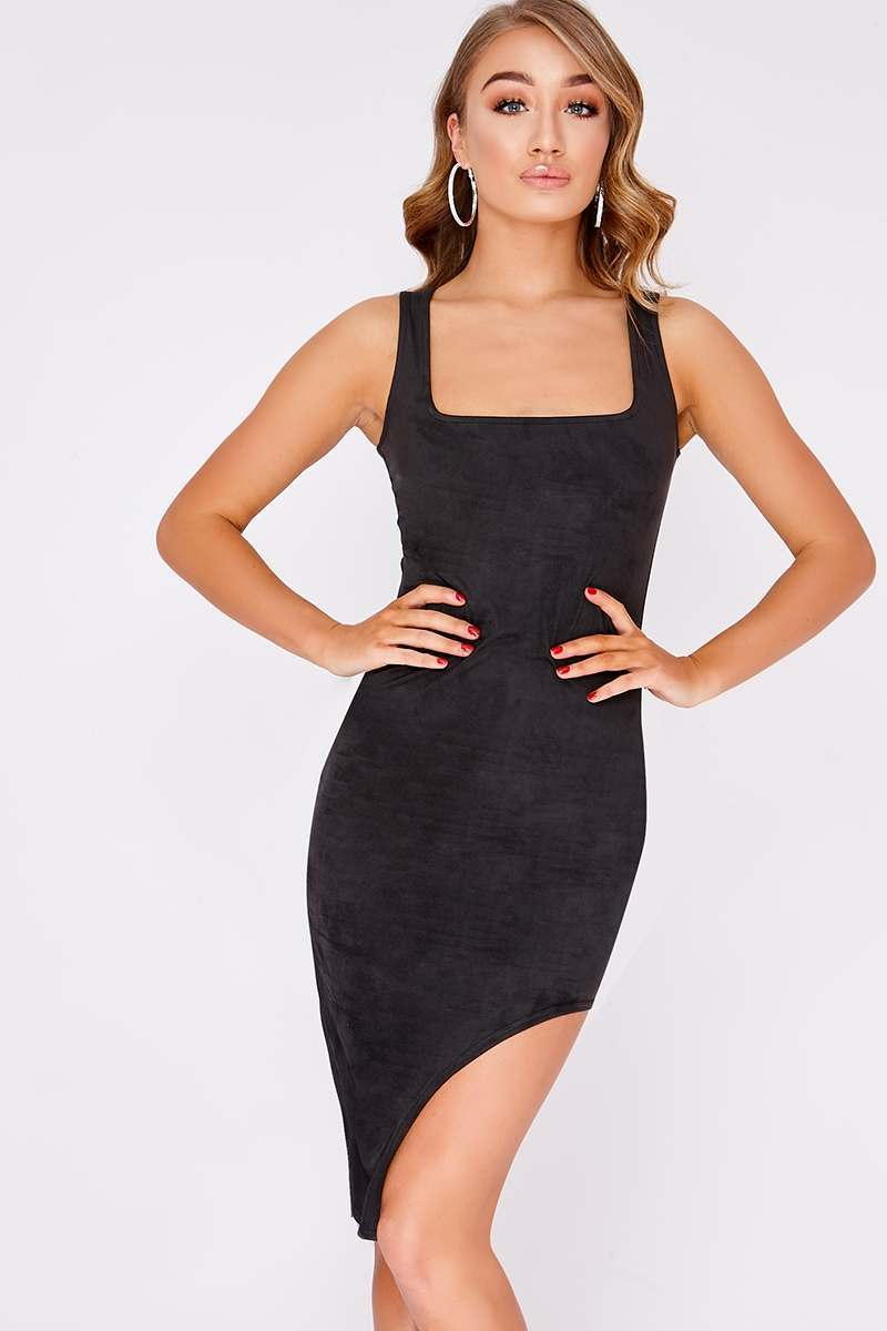 black faux suede high split midi dress
