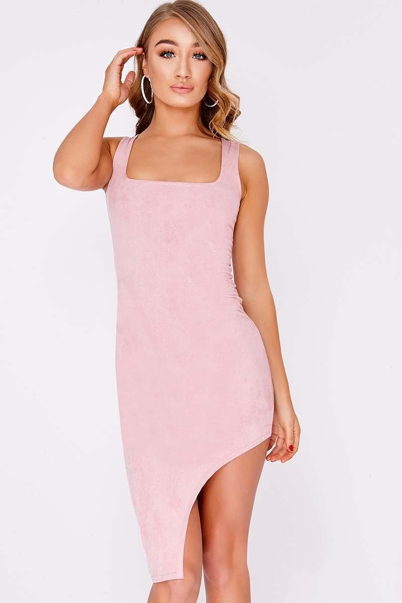 rose pink faux suede high split midi dress