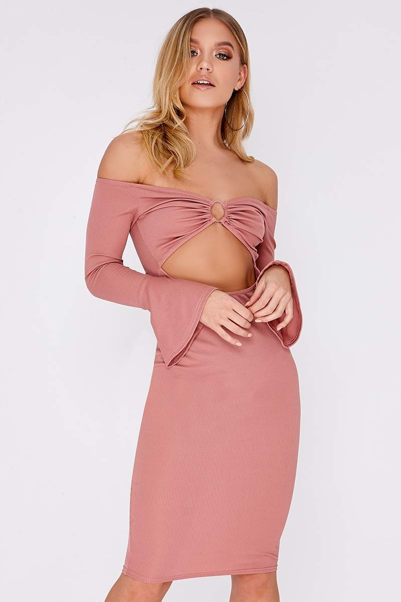 BRIEAH ROSE PINK RING DETAIL CUT OUT MIDI DRESS