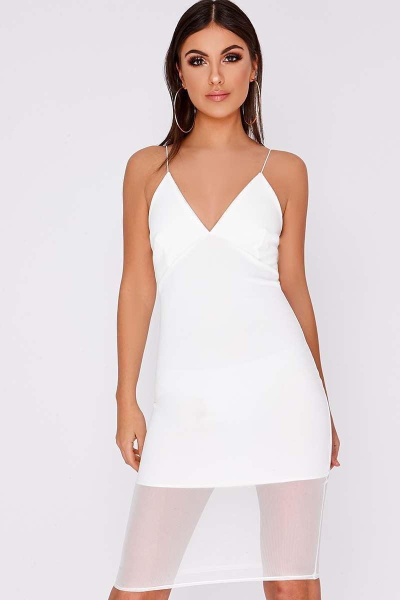 DITZA WHITE MESH INSERT MIDI DRESS