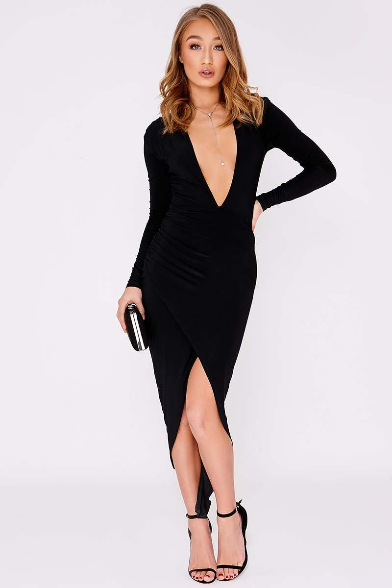 black slinky ruched plunge midi dress