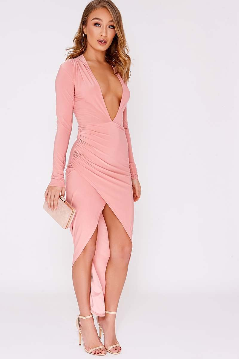 rose pink slinky ruched plunge midi dress
