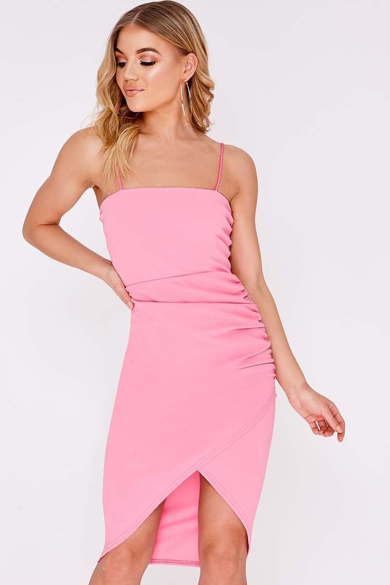 pink ruched side midi wrap dress