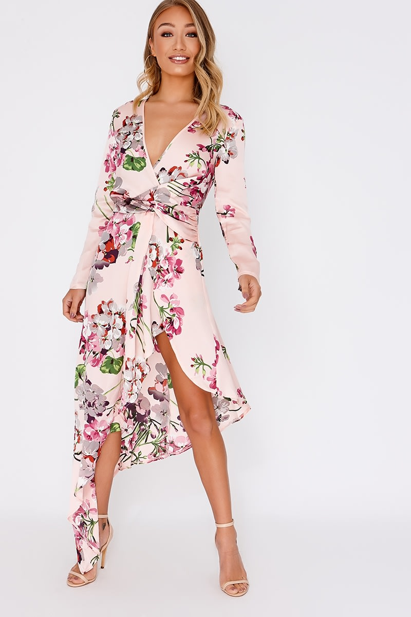 pink floral satin asymmetric hem midi dress