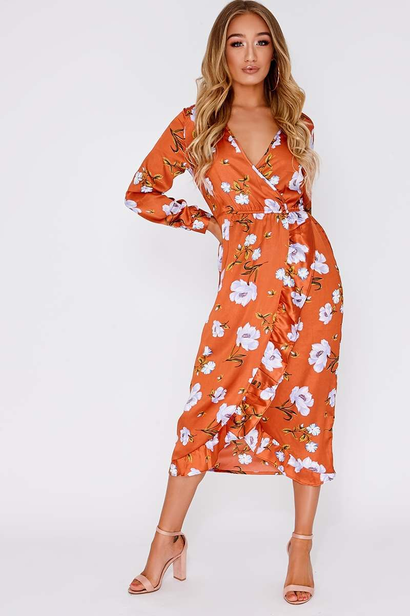 rose floral frill hem midi wrap dress