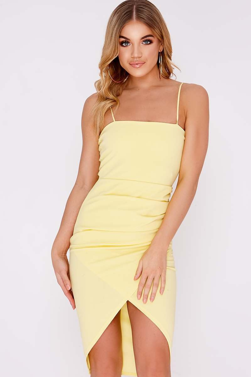 lemon ruched side midi wrap dress