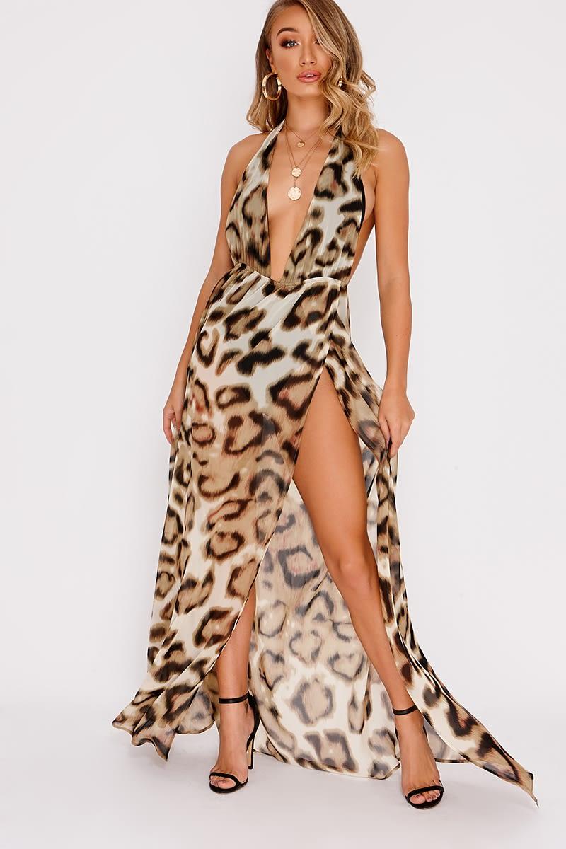 brown leopard print halterneck backless maxi dress