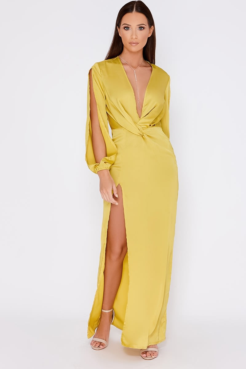 GAGA LIME SATIN PLUNGE  SPLIT SLEEVE MAXI DRESS