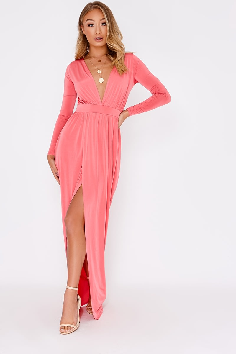 coral plunge long sleeve backless maxi dress