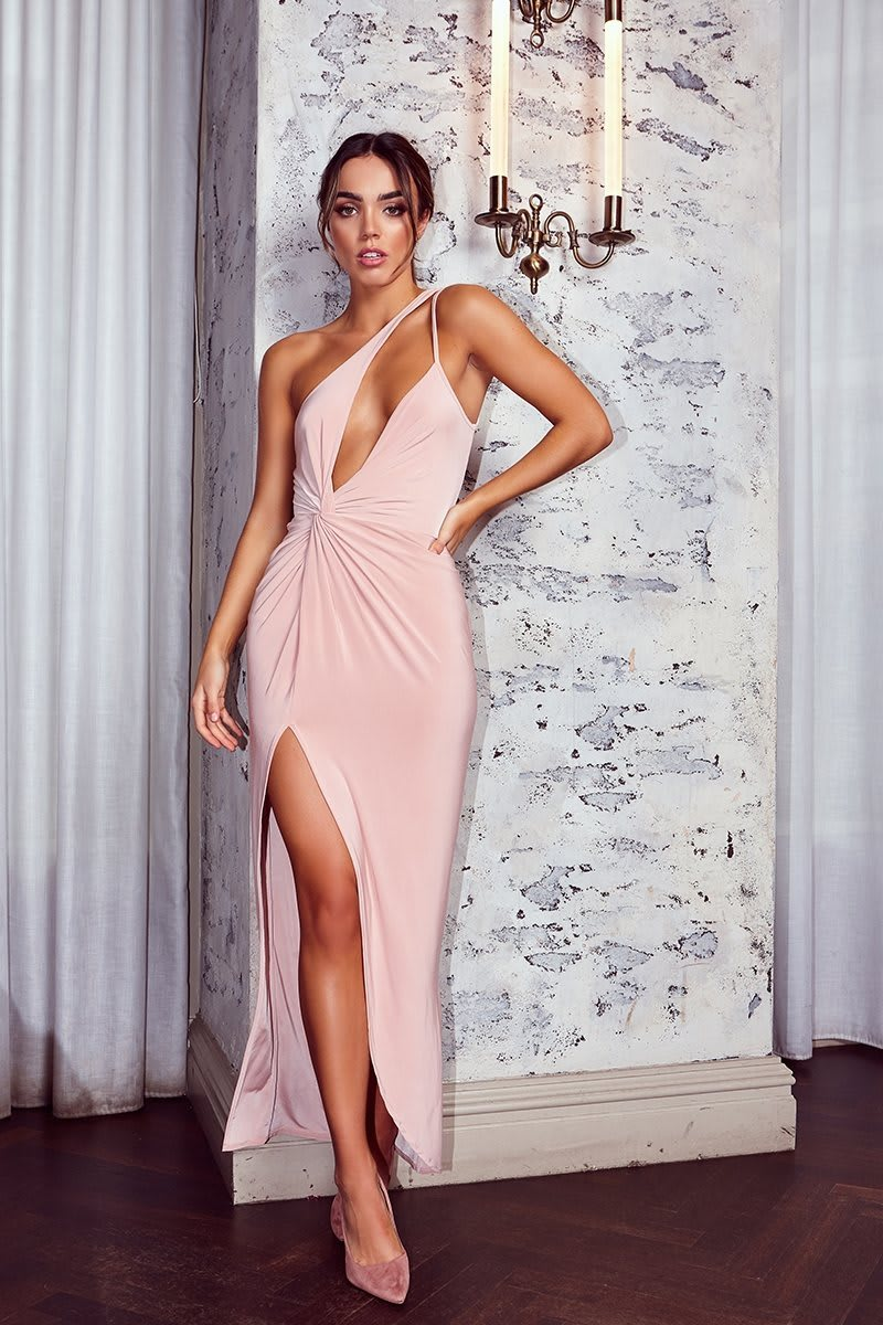nude one shoulder double strap maxi dress