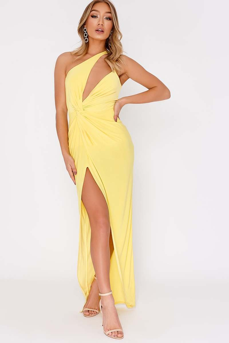 yellow one shoulder double strap maxi dress
