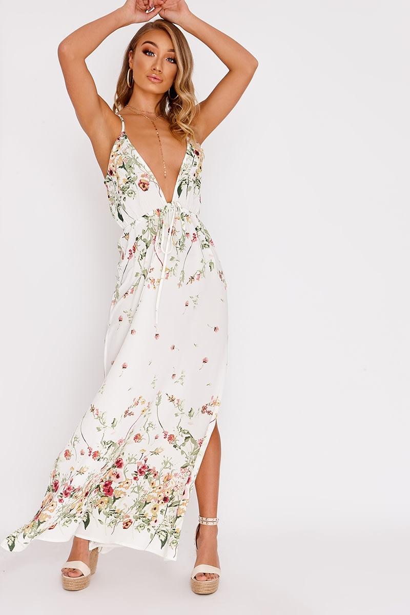 cream floral plunge maxi dress