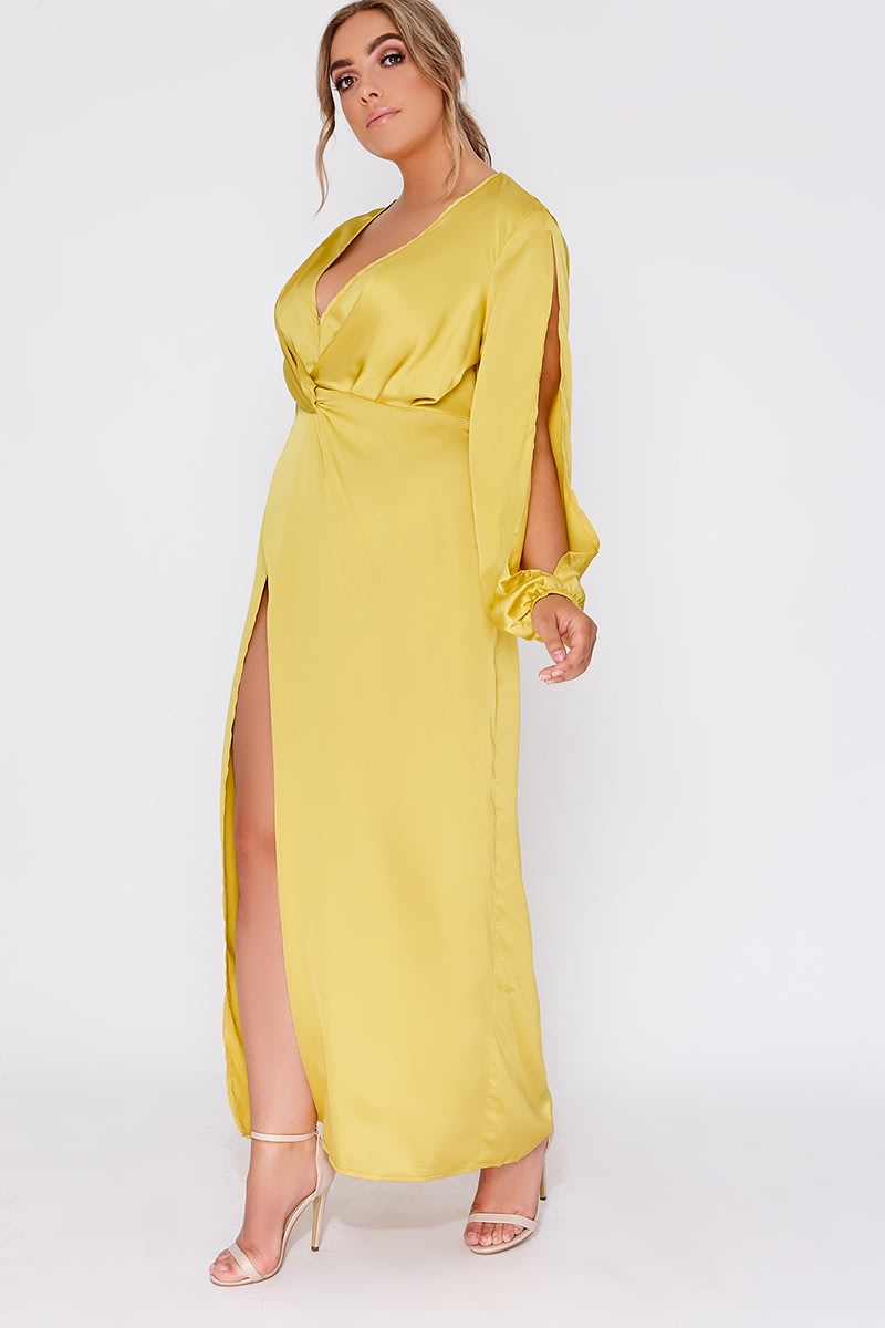 CURVE GAGA LIME WRAP FRONT SPLIT SLEEVE MAXI DRESS