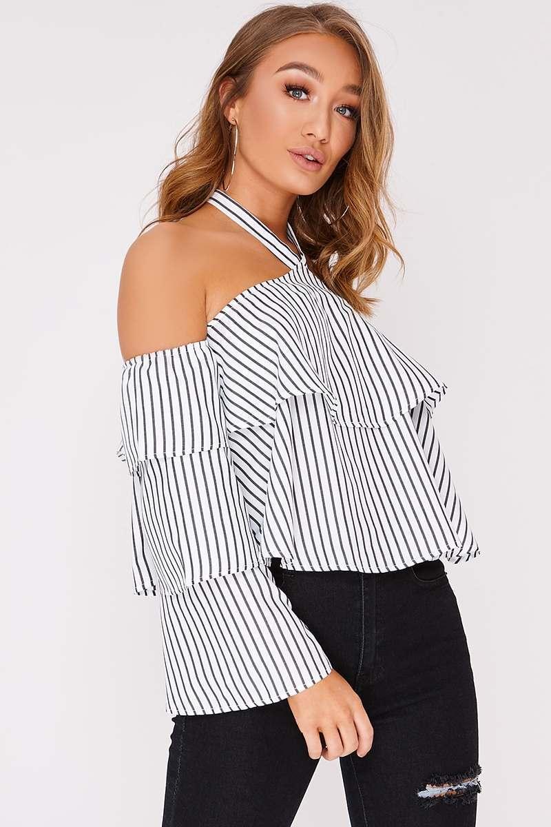 stripe halterneck frill layered top