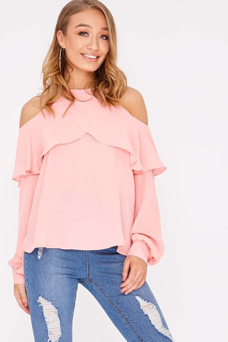 blush frill cold shoulder blouse