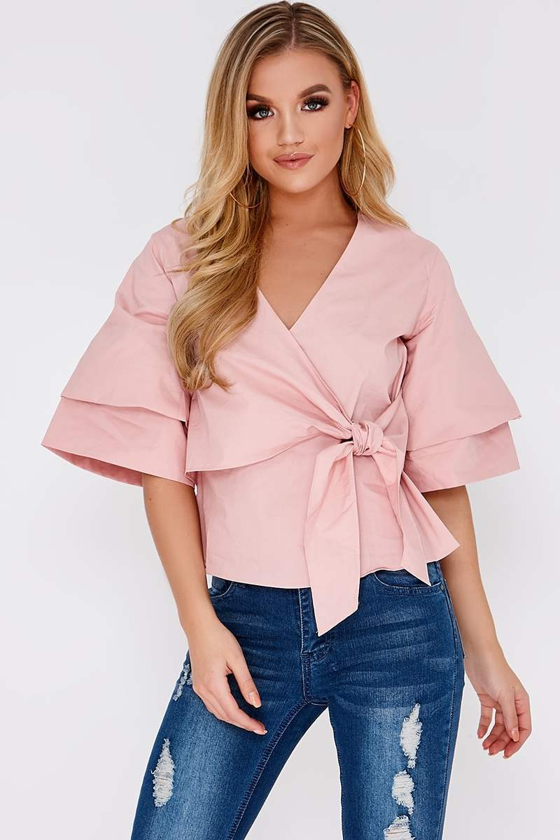 LUCIANNE PINK COTTON POPLIN WRAP TOP