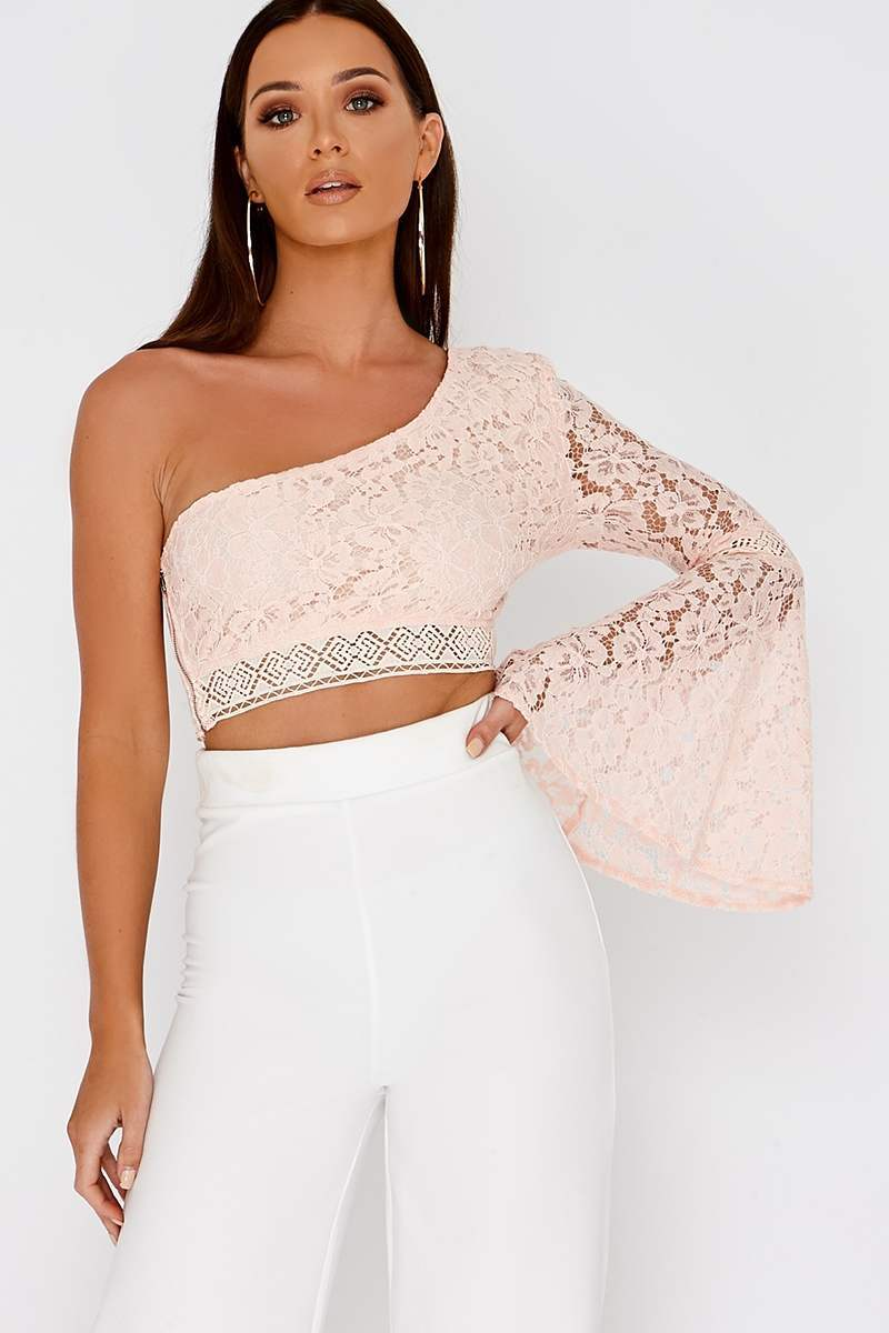 nude lace flare sleeve one arm crop top