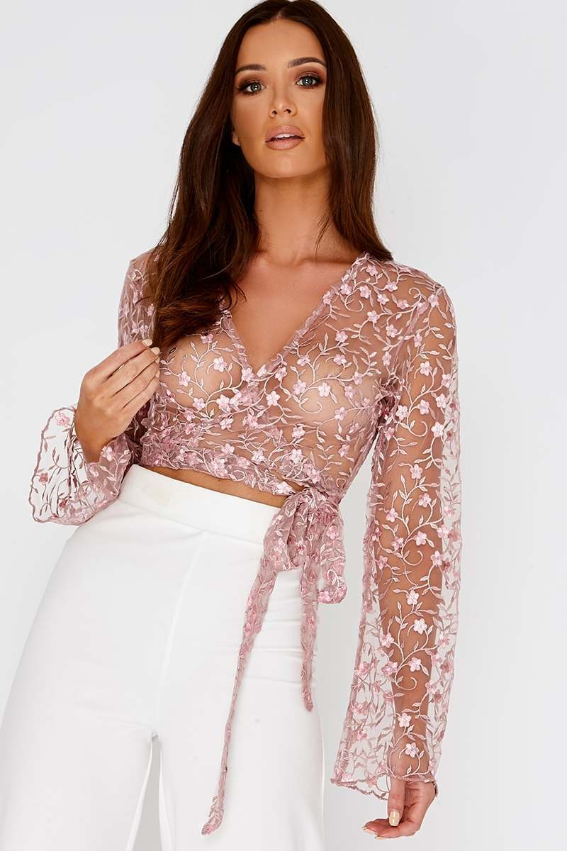 pink floral embroidered mesh wrap top