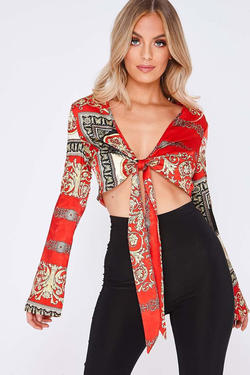 red scarf print satin tie front flared sleeve crop top