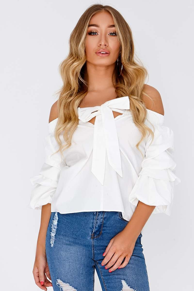 white bardot ruched sleeve top