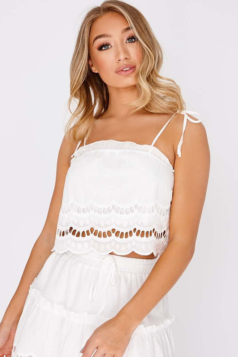 LATRISHA WHITE BRODERIE ANGLAISE CROP TOP