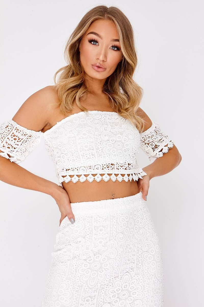 MABELLE WHITE LACE BARDOT CROP TOP