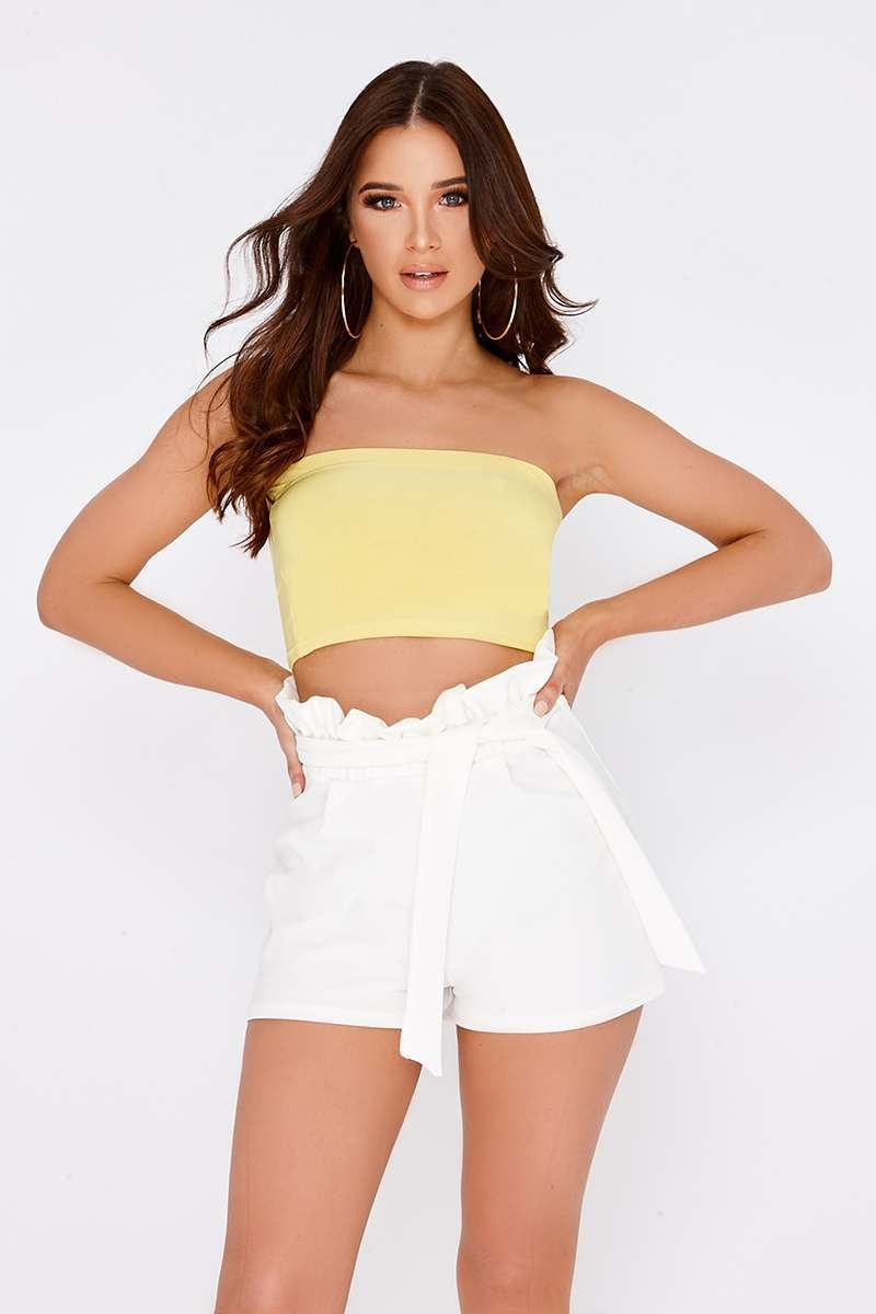 BASIC YELLOW SLINKY BANDEAU CROP TOP