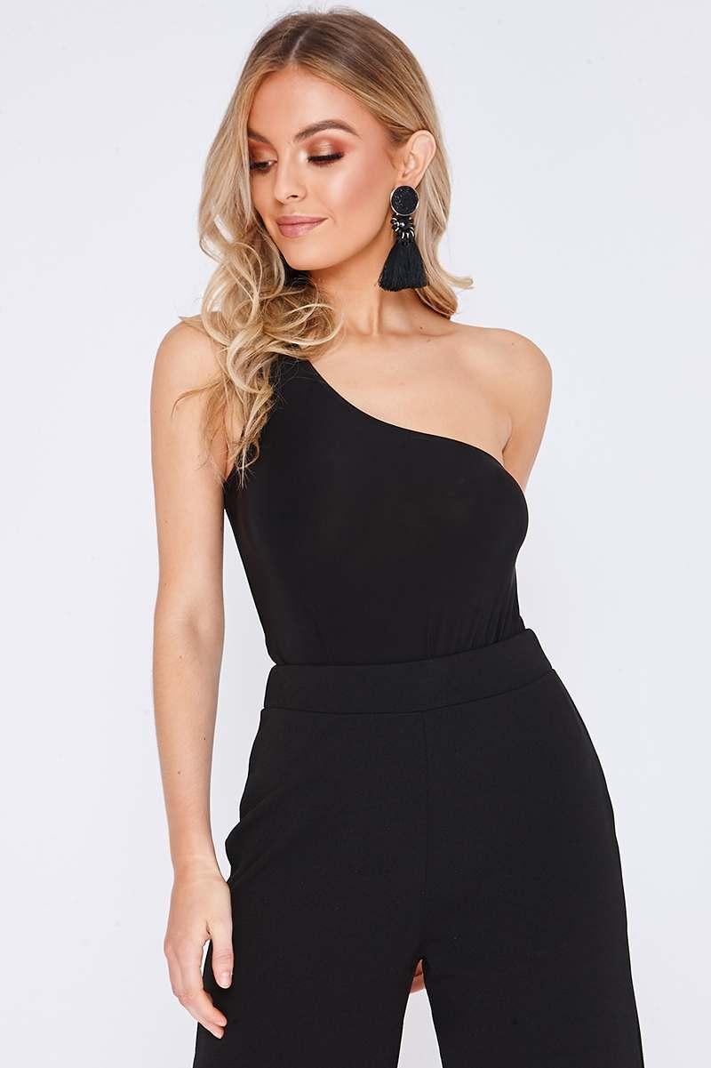 black slinky asymmetric bodysuit