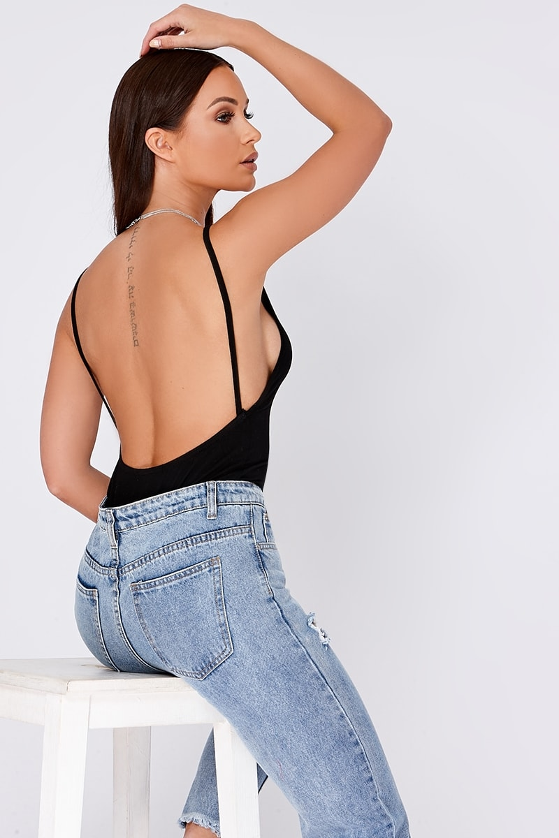 BASIC BLACK LOW BACK BODYSUIT