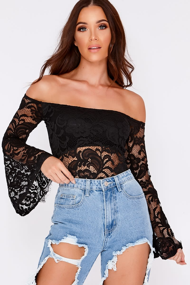 black lace bardot frill sleeve bodysuit