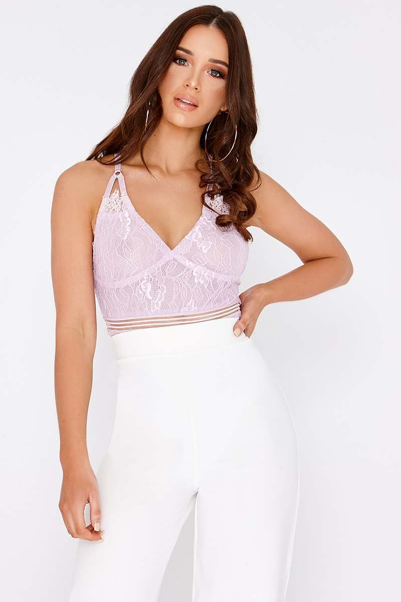 lilac lace strappy bodysuit