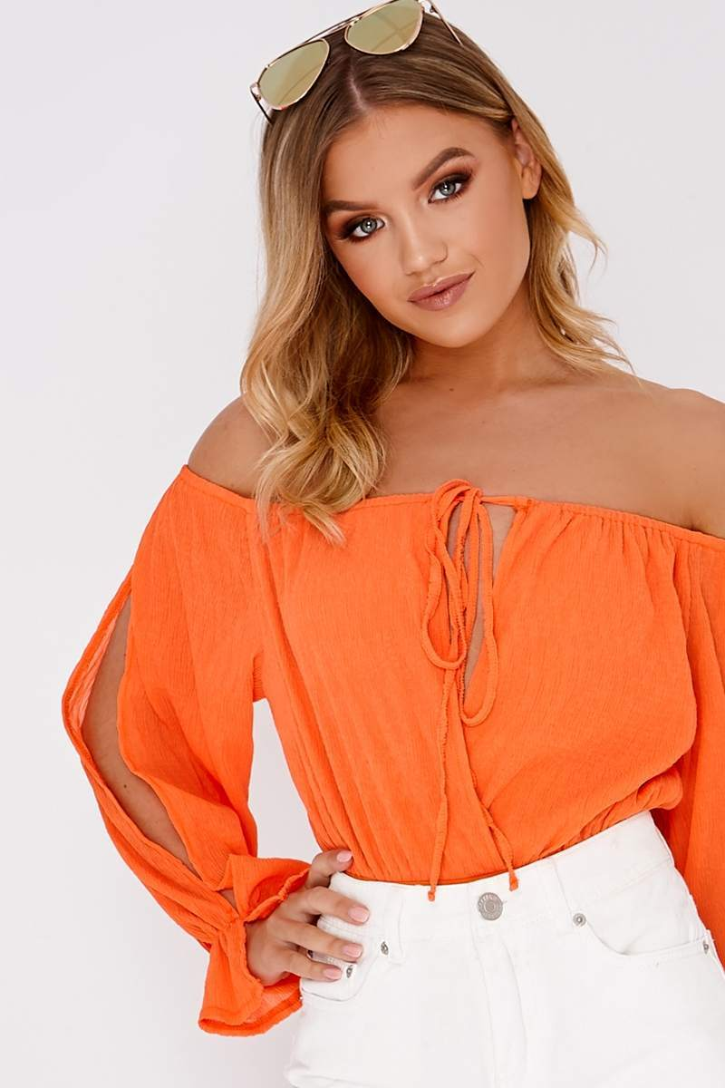orange cheesecloth split sleeve bardot bodysuit