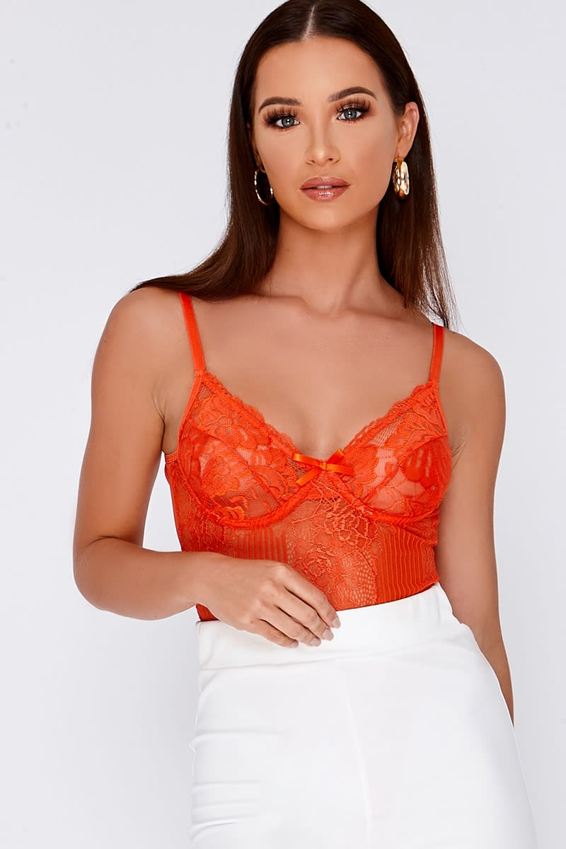 NADALIA ORANGE LACE BODYSUIT