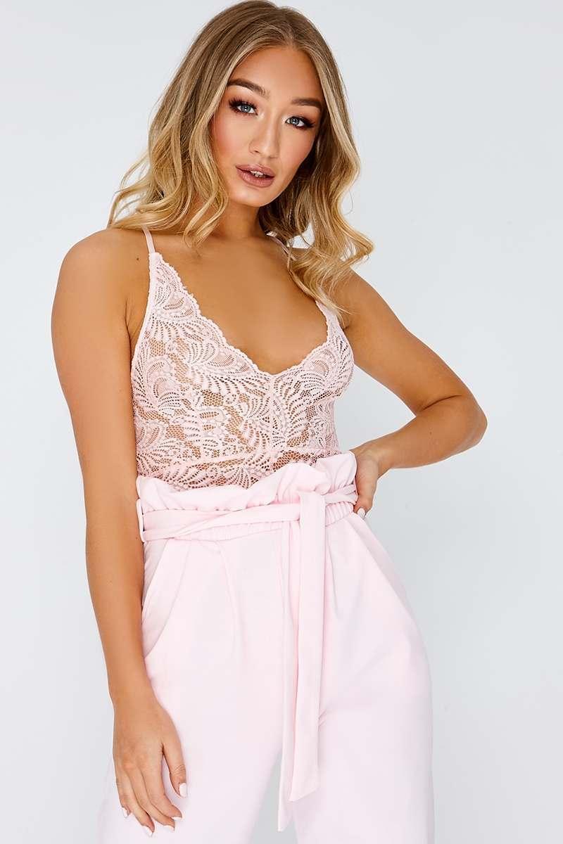 pink lace bodysuit